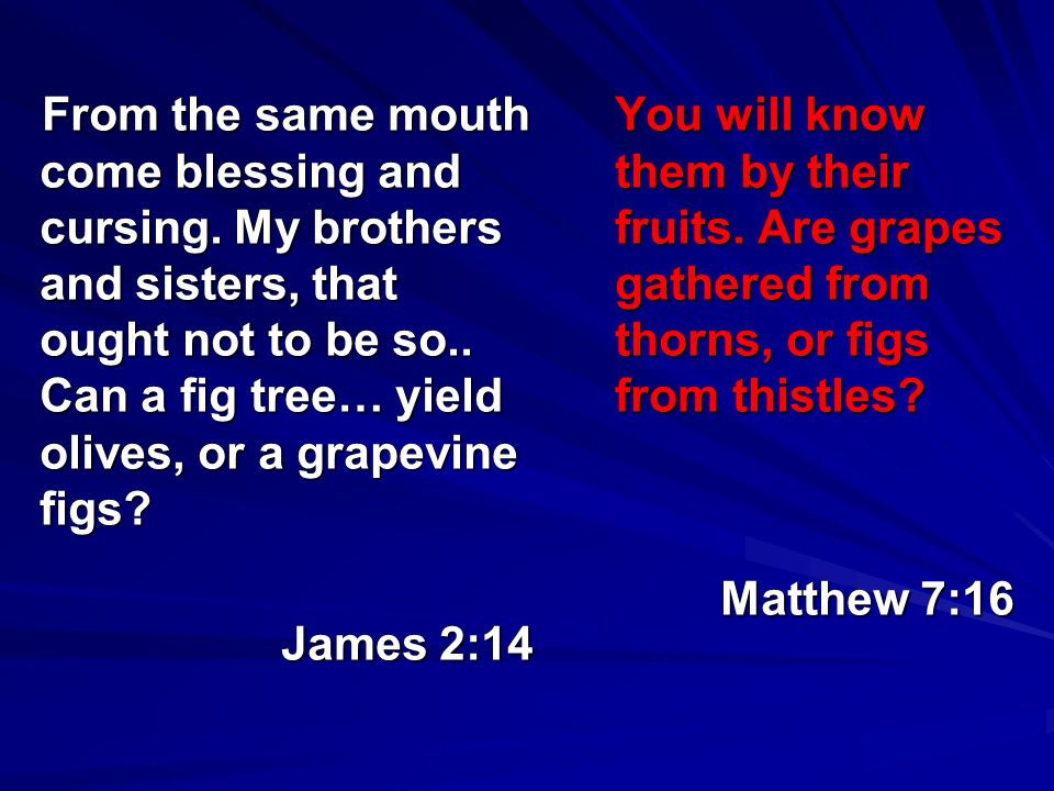 From the same mouth come blessing and cursing. My brothers and sisters, that ought not to be so.. Can a fig tree… yield olives, or a grapevine figs? J
