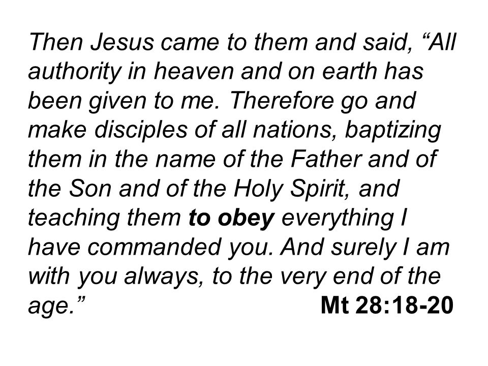Then Jesus came to them and said, All authority in heaven and on earth has been given to me.
