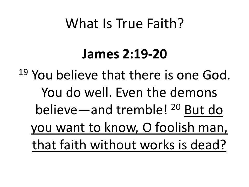 What Is True Faith.James 2:19-20 19 You believe that there is one God.