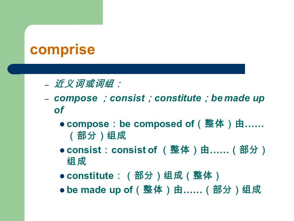 comprise – 近义词或词组: – compose ; consist ; constitute ; be made up of compose : be composed of (整体)由 …… (部分)组成 consist : consist of (整体)由 …… (部分) 组成 con