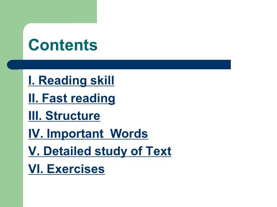 I. Reading skill -- Appreciating Figurative Language