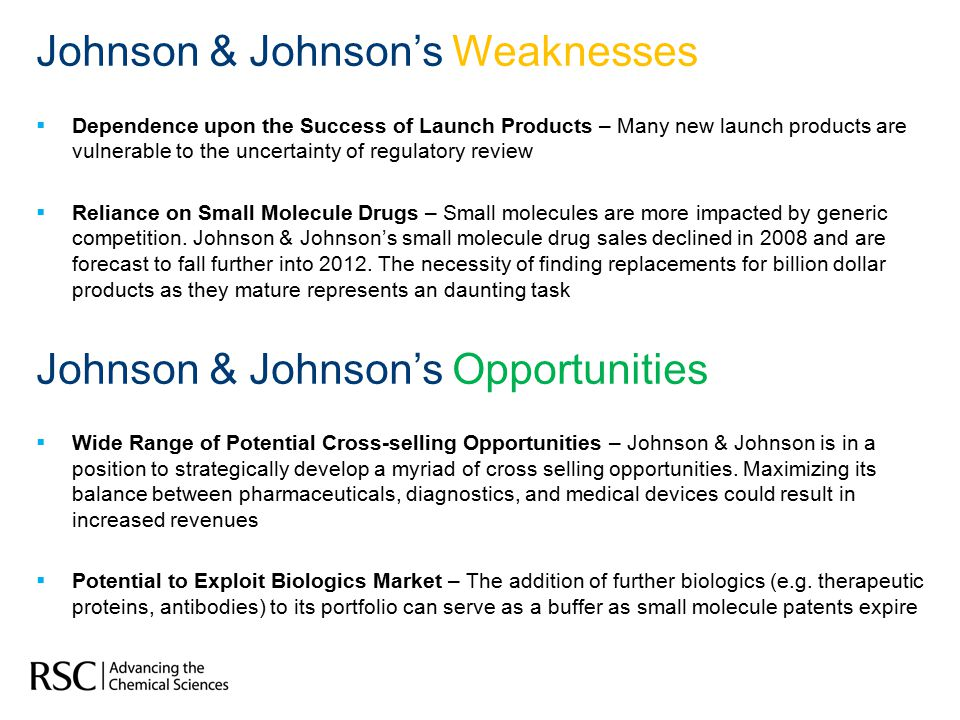 Johnson & Johnson's Weaknesses  Dependence upon the Success of Launch Products – Many new launch products are vulnerable to the uncertainty of regulatory review  Reliance on Small Molecule Drugs – Small molecules are more impacted by generic competition.