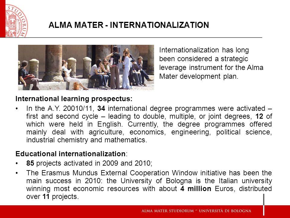 ALMA MATER - INTERNATIONALIZATION Internationalization has long been considered a strategic leverage instrument for the Alma Mater development plan.