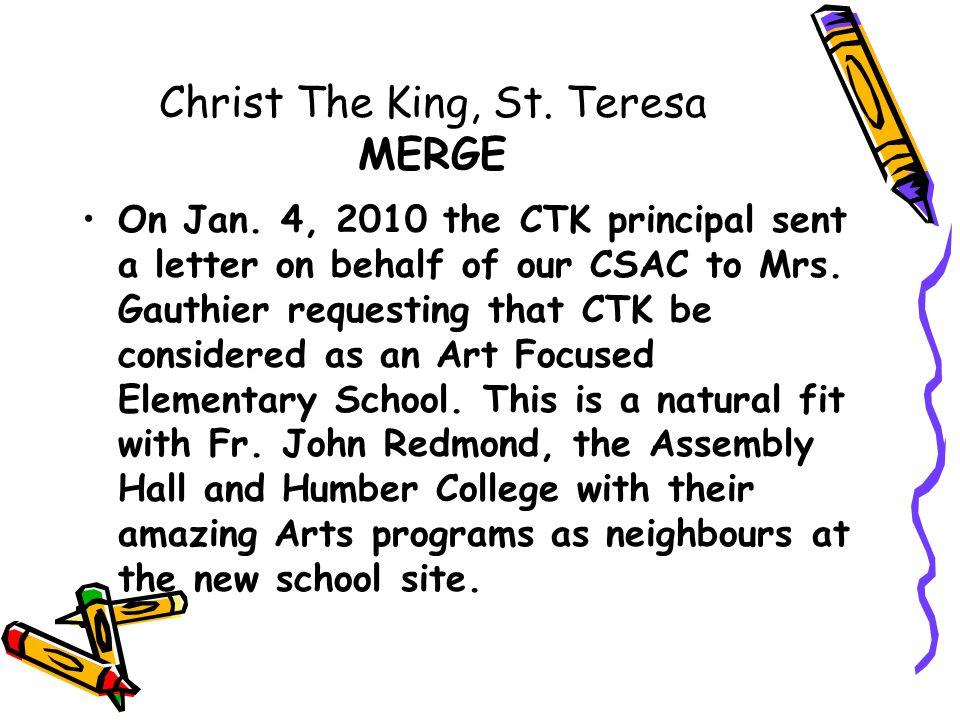 Christ The King, St. Teresa MERGE On Jan.