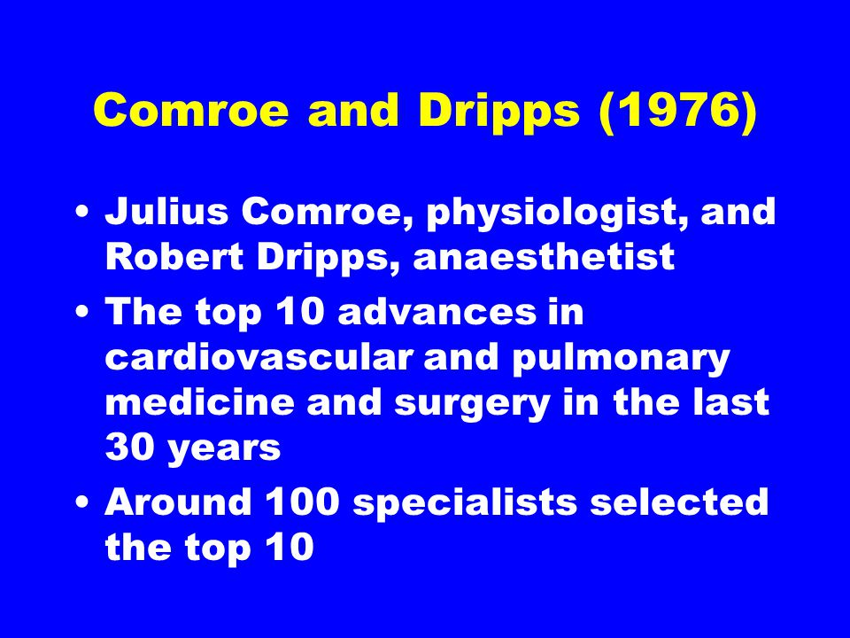 Comroe and Dripps (1976) Julius Comroe, physiologist, and Robert Dripps, anaesthetist The top 10 advances in cardiovascular and pulmonary medicine and