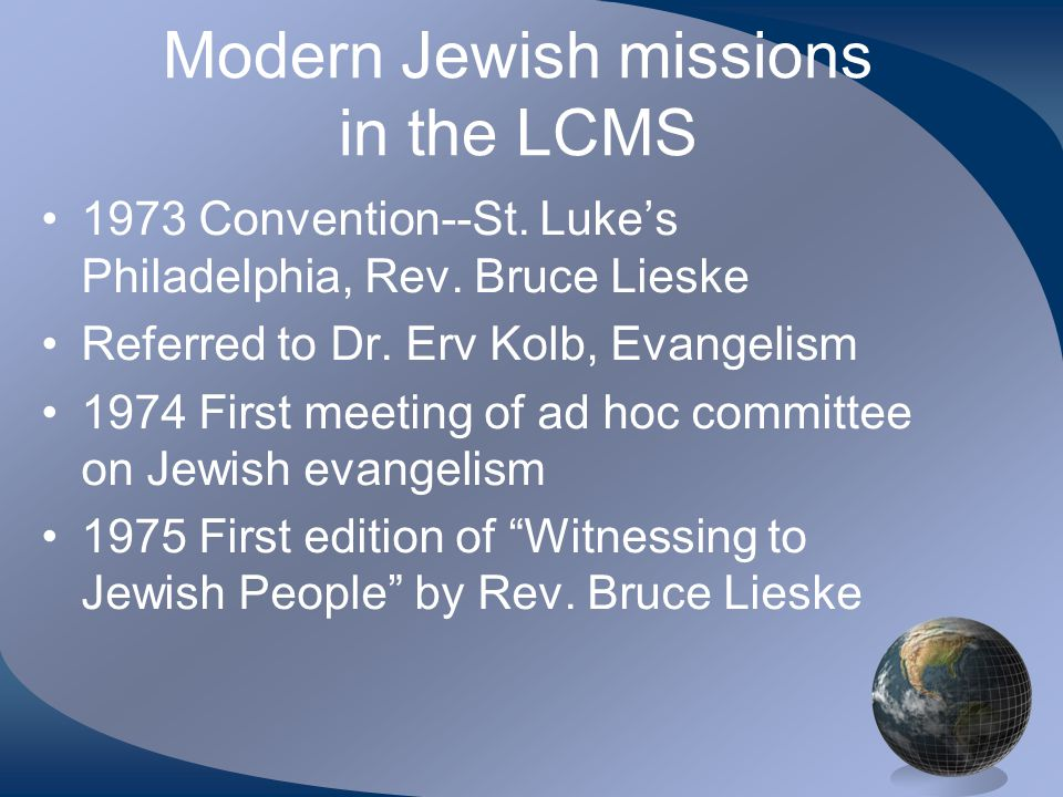 Modern Jewish missions in the LCMS 1973 Convention--St.