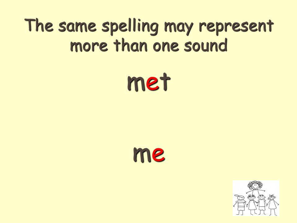 The same spelling may represent more than one sound metmetmememetmetmeme