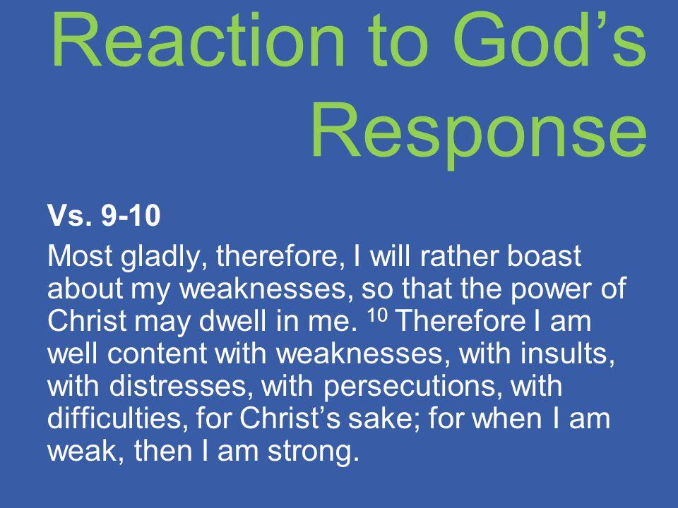 Reaction to God's Response Vs.