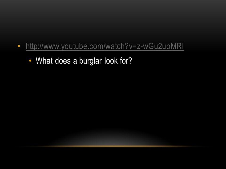 http://www.youtube.com/watch?v=z-wGu2uoMRI What does a burglar look for?