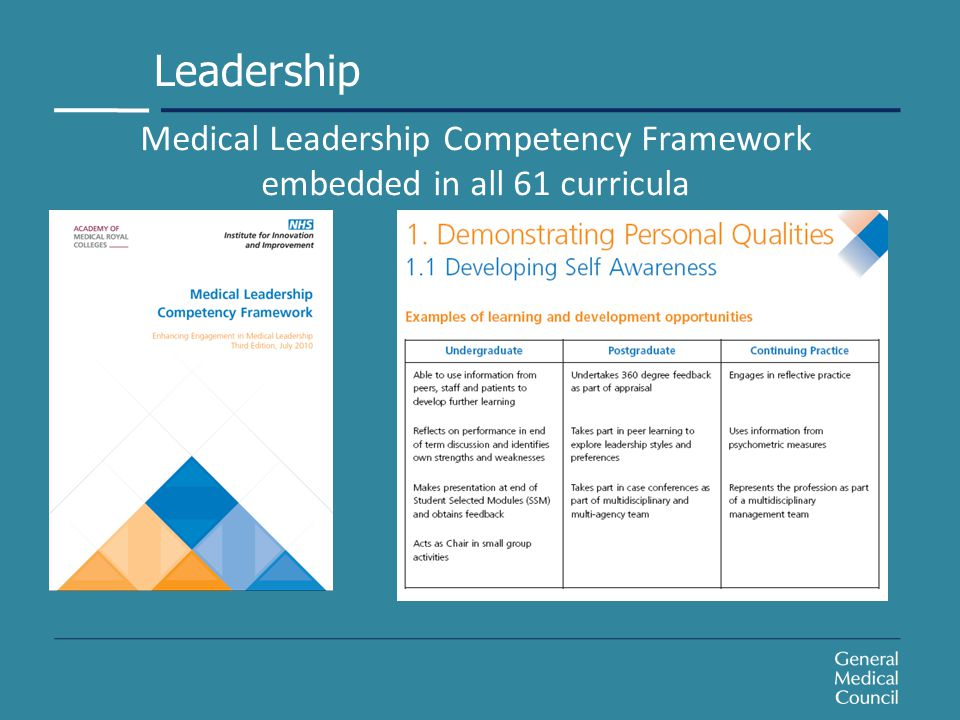 Medical Leadership Competency Framework embedded in all 61 curricula