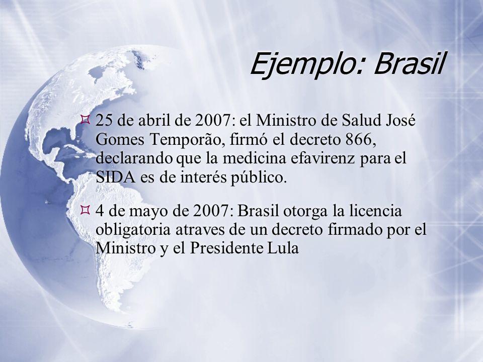 Ejemplo: Brasil  25 de abril de 2007: el Ministro de Salud José Gomes Temporão, firmó el decreto 866, declarando que la medicina efavirenz para el SIDA es de interés público.