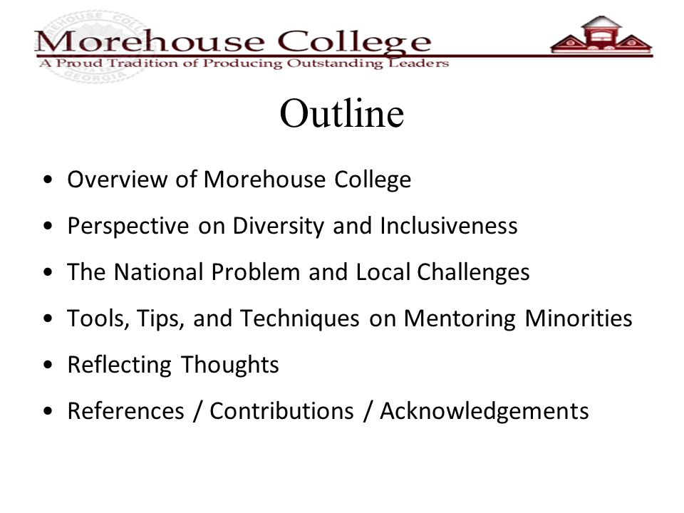 Outline Overview of Morehouse College Perspective on Diversity and Inclusiveness The National Problem and Local Challenges Tools, Tips, and Techniques on Mentoring Minorities Reflecting Thoughts References / Contributions / Acknowledgements