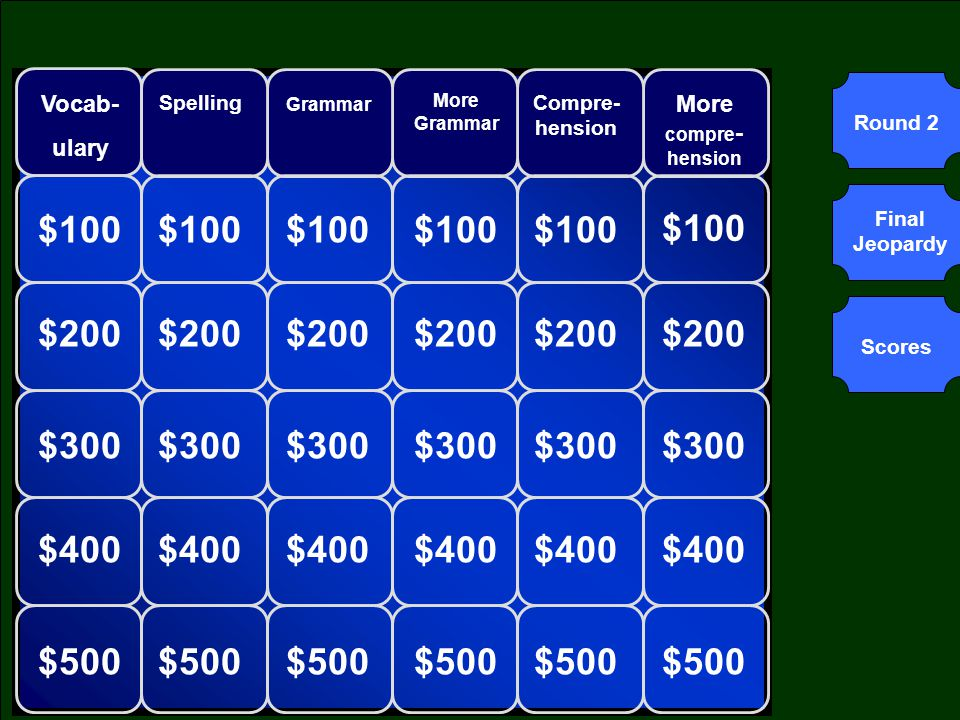 Round 1Round 2 Final Jeopardy