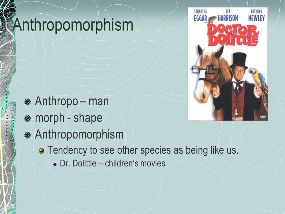 Anthropo – man morph - shape Anthropomorphism Tendency to see other species as being like us.