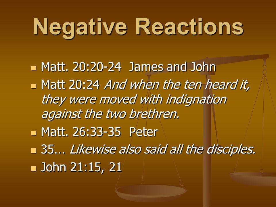 Negative Reactions Matt. 20:20-24 James and John Matt.