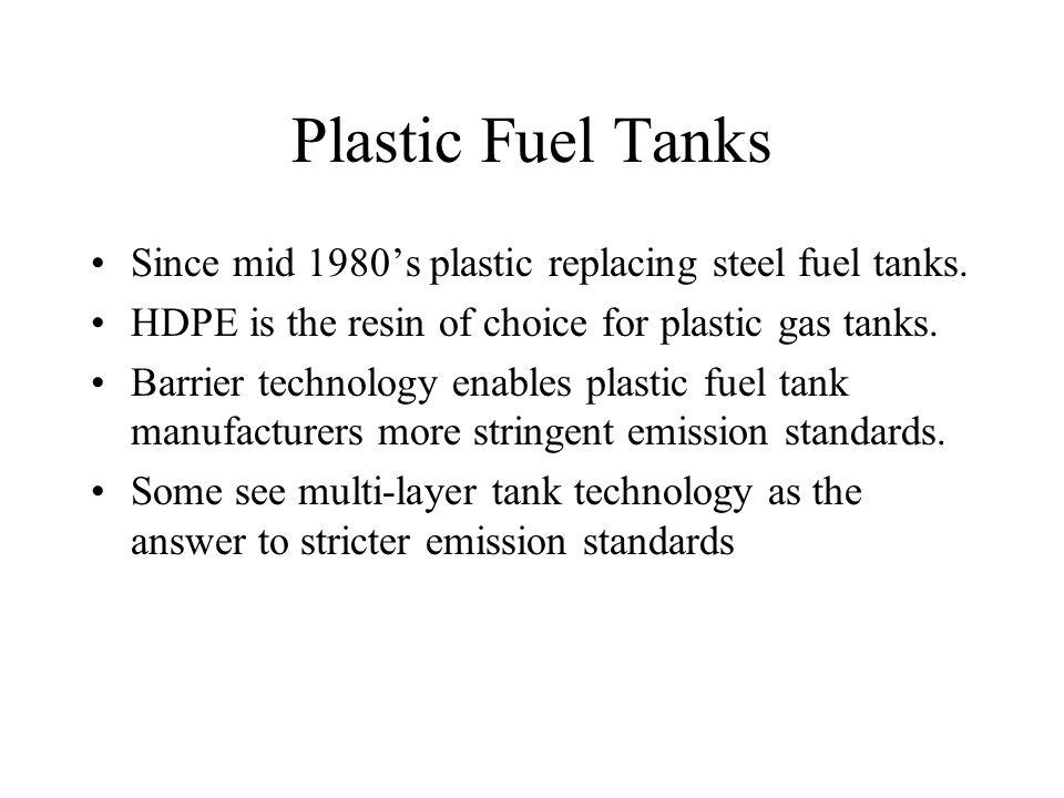 Plastic Fuel Tanks Since mid 1980's plastic replacing steel fuel tanks.