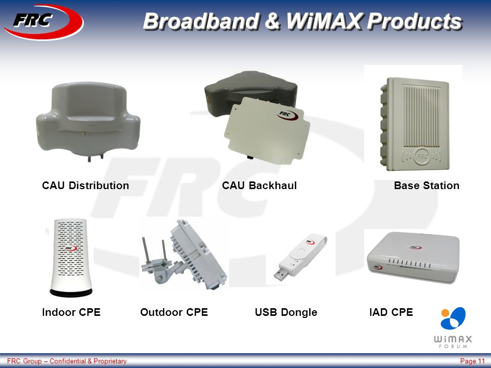 FRC Group – Confidential & Proprietary Page 11 Broadband & WiMAX Products Base StationCAU BackhaulCAU Distribution Indoor CPEOutdoor CPEUSB DongleIAD CPE