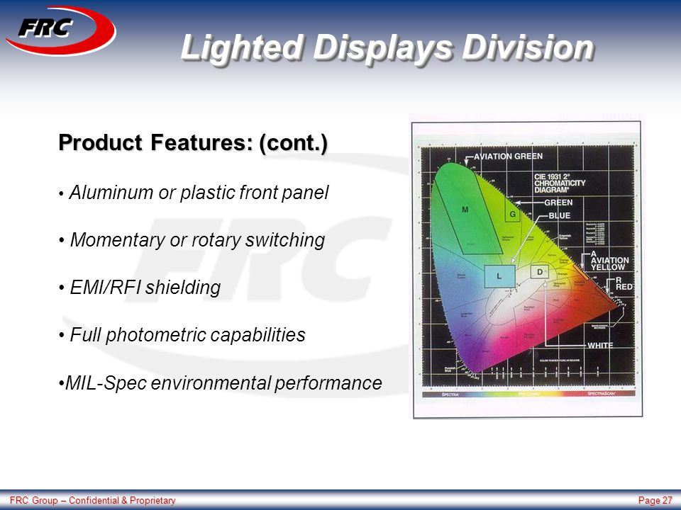 FRC Group – Confidential & Proprietary Page 27 Lighted Displays Division Product Features: (cont.) Aluminum or plastic front panel Momentary or rotary switching EMI/RFI shielding Full photometric capabilities MIL-Spec environmental performance