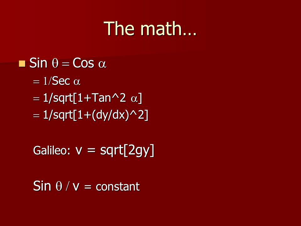 The math… Sin  Cos  Sin  Cos   Sec   1/sqrt[1+Tan^2  ]  1/sqrt[1+(dy/dx)^2] Galileo: v = sqrt[2gy] Sin  v = constant