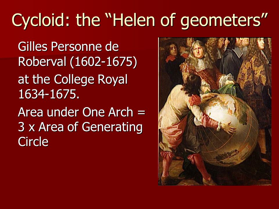 Cycloid: the Helen of geometers Gilles Personne de Roberval (1602-1675) at the College Royal 1634-1675.