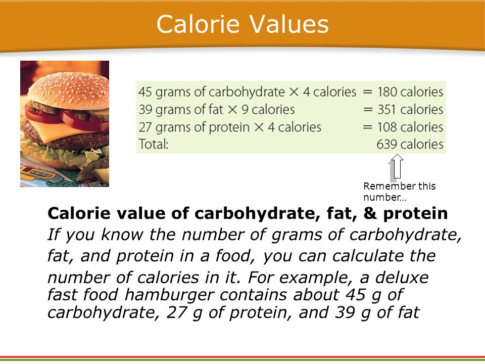 Calorie Values Calorie value of carbohydrate, fat, & protein If you know the number of grams of carbohydrate, fat, and protein in a food, you can calculate the number of calories in it.