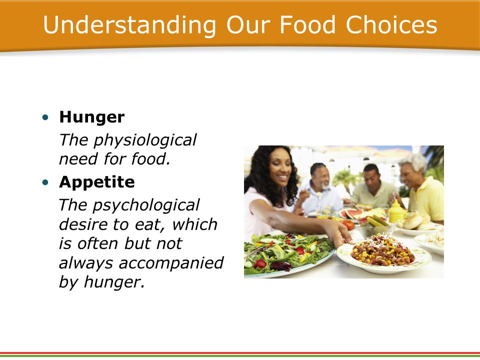 Hunger The physiological need for food.