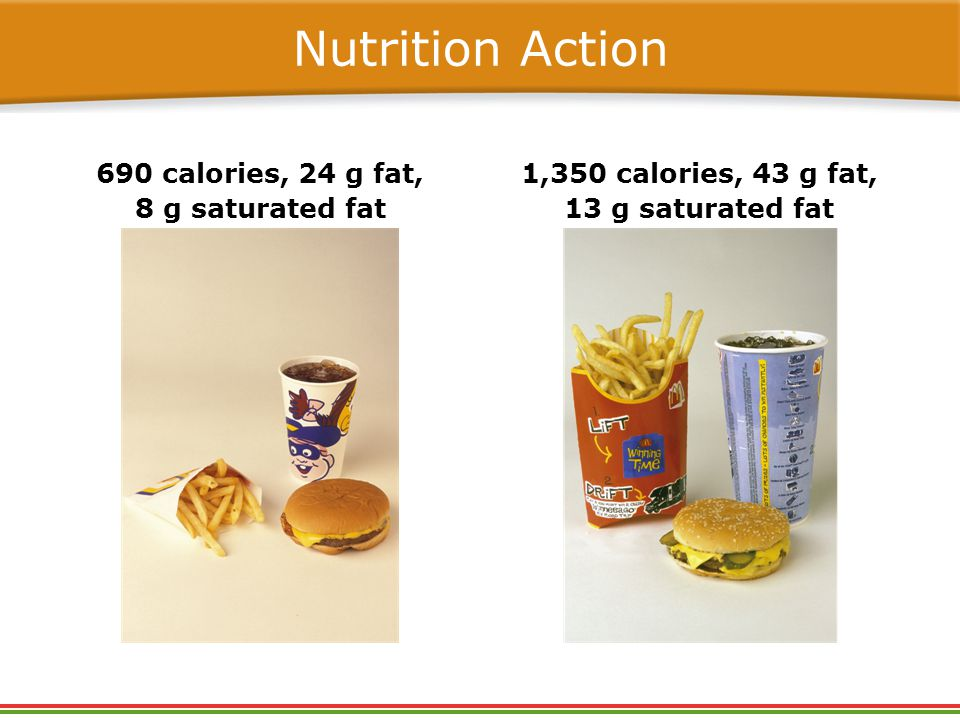 Nutrition Action 690 calories, 24 g fat, 8 g saturated fat 1,350 calories, 43 g fat, 13 g saturated fat