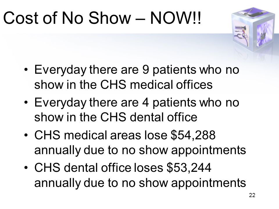 22 Cost of No Show – NOW!! Everyday there are 9 patients who no show in the CHS medical offices Everyday there are 4 patients who no show in the CHS d