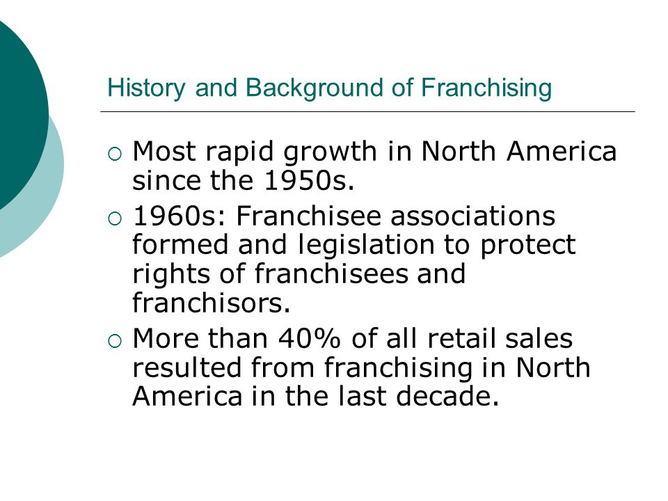 History and Background of Franchising  Most rapid growth in North America since the 1950s.