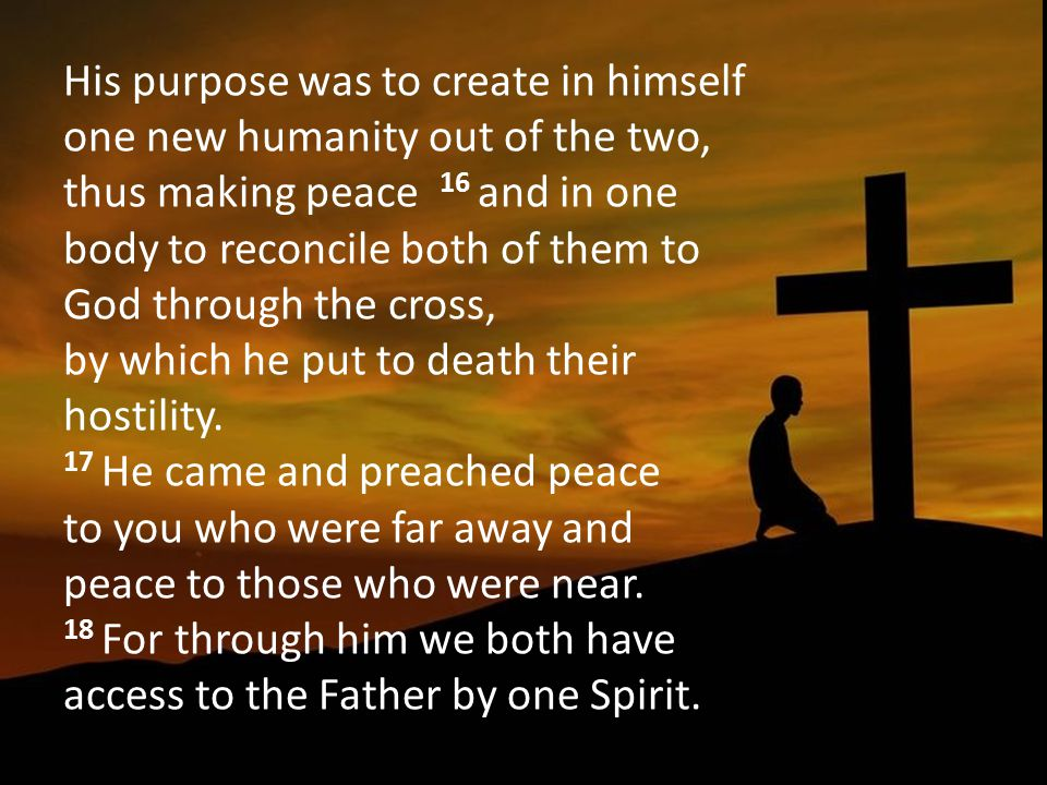 His purpose was to create in himself one new humanity out of the two, thus making peace 16 and in one body to reconcile both of them to God through the cross, by which he put to death their hostility.