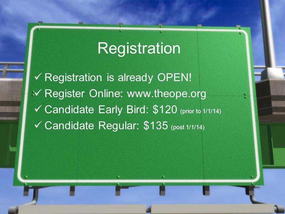 Registration Registration is already OPEN.