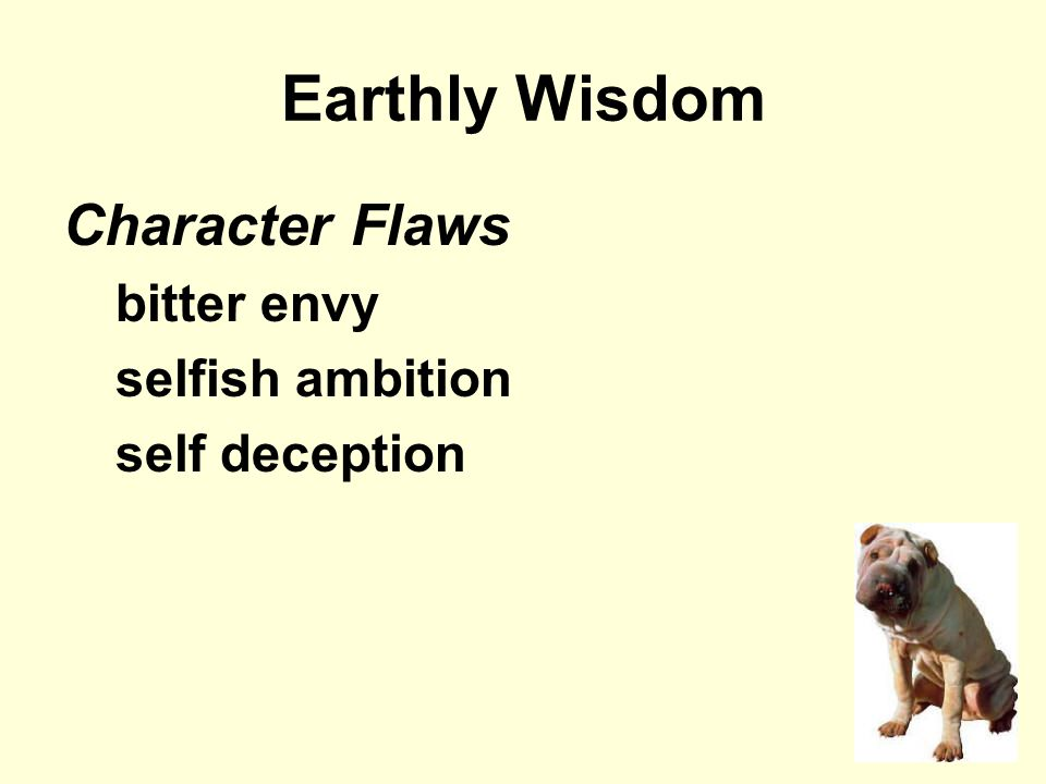 Earthly Wisdom Character Flaws bitter envy selfish ambition self deception