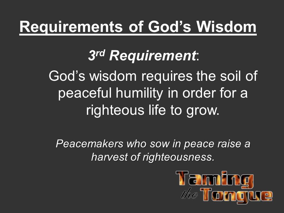 Requirements of God's Wisdom 3 rd Requirement: God's wisdom requires the soil of peaceful humility in order for a righteous life to grow. Peacemakers