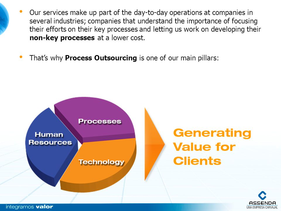Our services make up part of the day-to-day operations at companies in several industries; companies that understand the importance of focusing their efforts on their key processes and letting us work on developing their non-key processes at a lower cost.