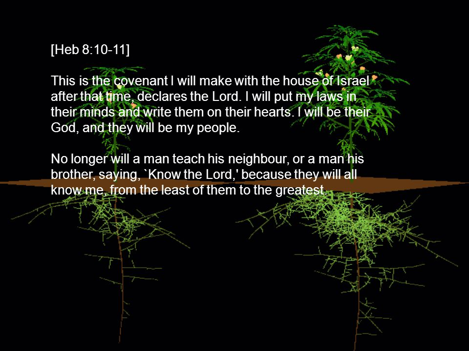 [Heb 8:10-11] This is the covenant I will make with the house of Israel after that time, declares the Lord.