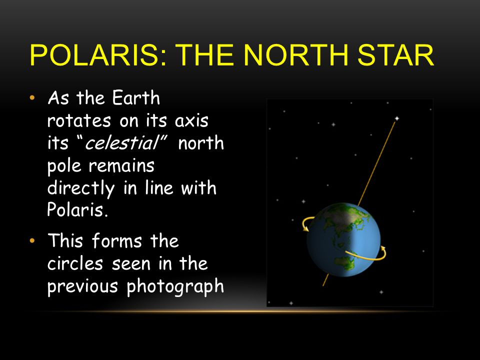 POLARIS: THE NORTH STAR As the Earth rotates on its axis its celestial north pole remains directly in line with Polaris.