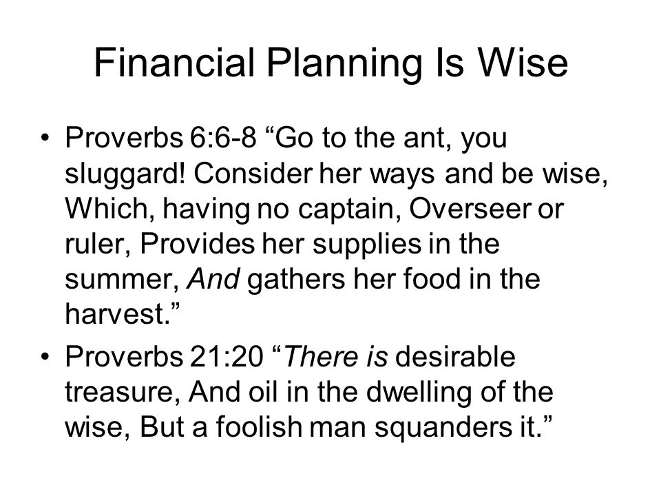 "Financial Planning Is Wise Proverbs 6:6-8 ""Go to the ant, you sluggard! Consider her ways and be wise, Which, having no captain, Overseer or ruler, Pr"