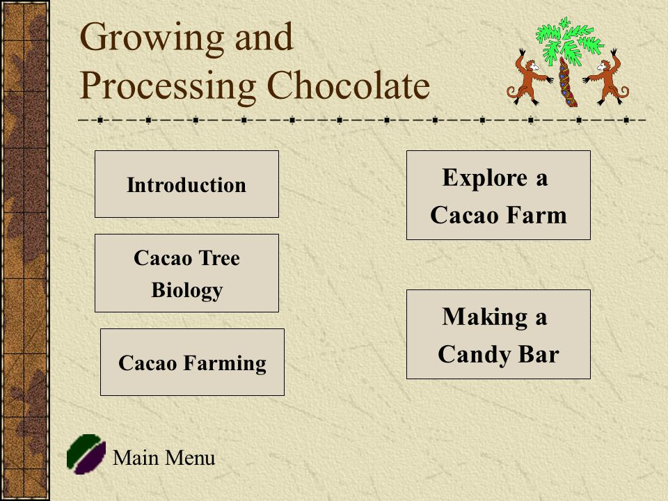 Growing and Processing Chocolate Main Menu Introduction Cacao Tree Biology Explore a Cacao Farm Cacao Farming Making a Candy Bar