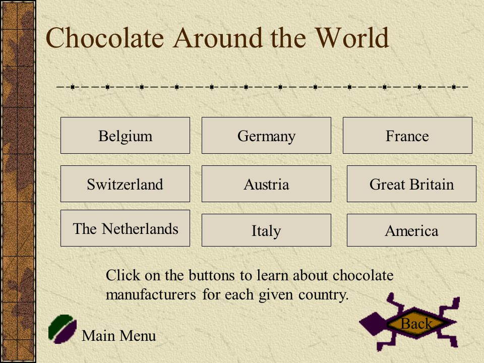 Chocolate Around the World Belgium The Netherlands Germany Italy Switzerland France Great Britain America Main Menu Austria Click on the buttons to learn about chocolate manufacturers for each given country.