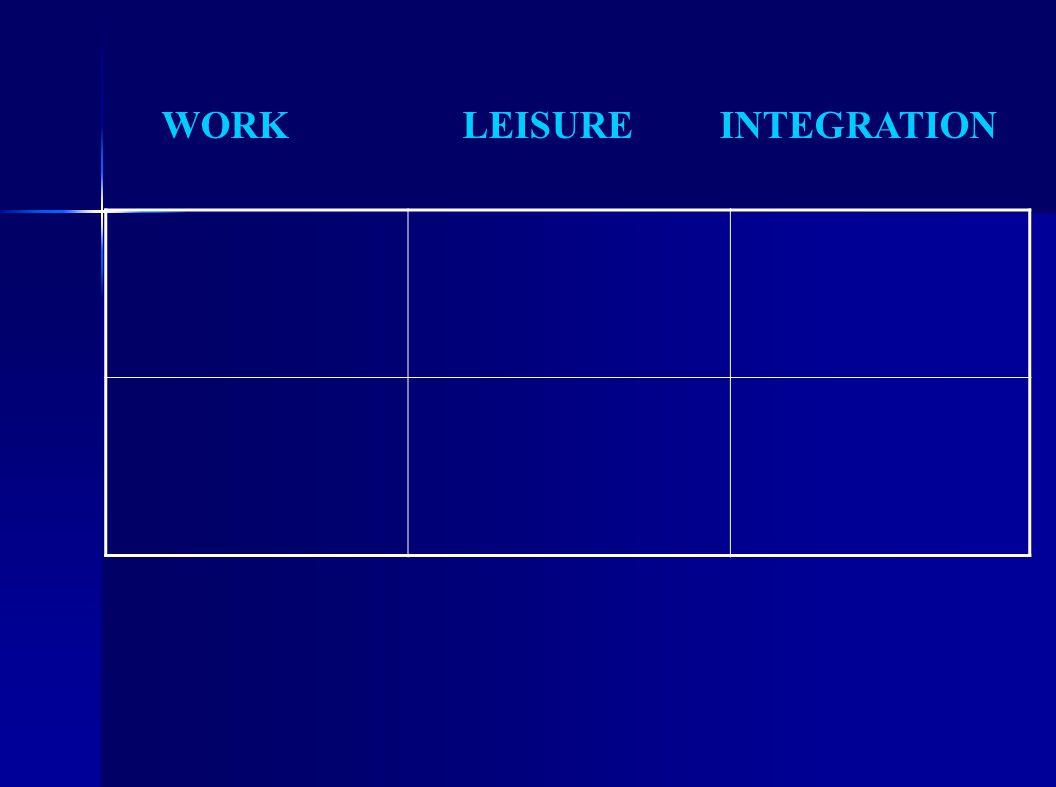 WORK LEISURE INTEGRATION