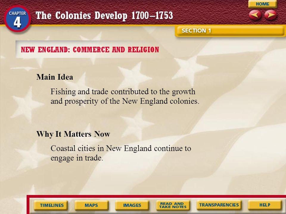 How did New Englanders prosper from the Atlantic Ocean.