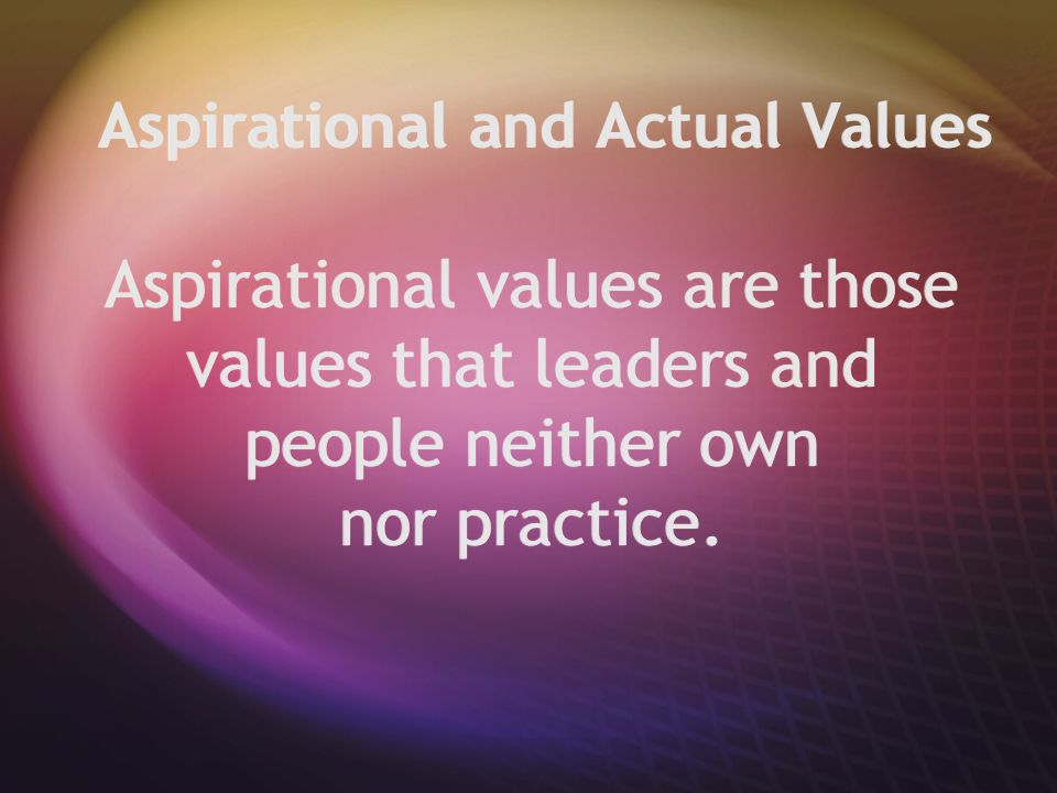 Aspirational and Actual Values Aspirational values are those values that leaders and people neither own nor practice.