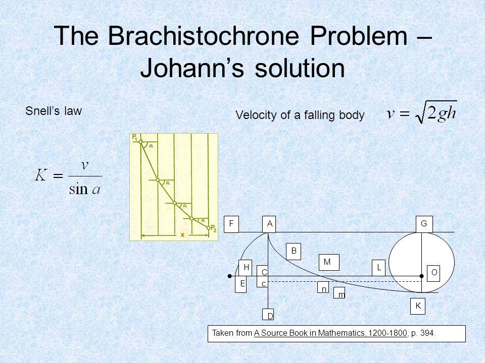 The Brachistochrone Problem – Johann's solution AF H E C G O K L M n m c D Taken from A Source Book in Mathematics, 1200-1800, p.
