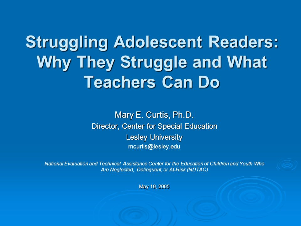 2 Overview  What does research tell us about struggling adolescent readers.