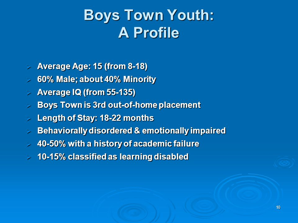 10  Average Age: 15 (from 8-18)  60% Male; about 40% Minority  Average IQ (from 55-135)  Boys Town is 3rd out-of-home placement  Length of Stay: 18-22 months  Behaviorally disordered & emotionally impaired  40-50% with a history of academic failure  10-15% classified as learning disabled Boys Town Youth: A Profile