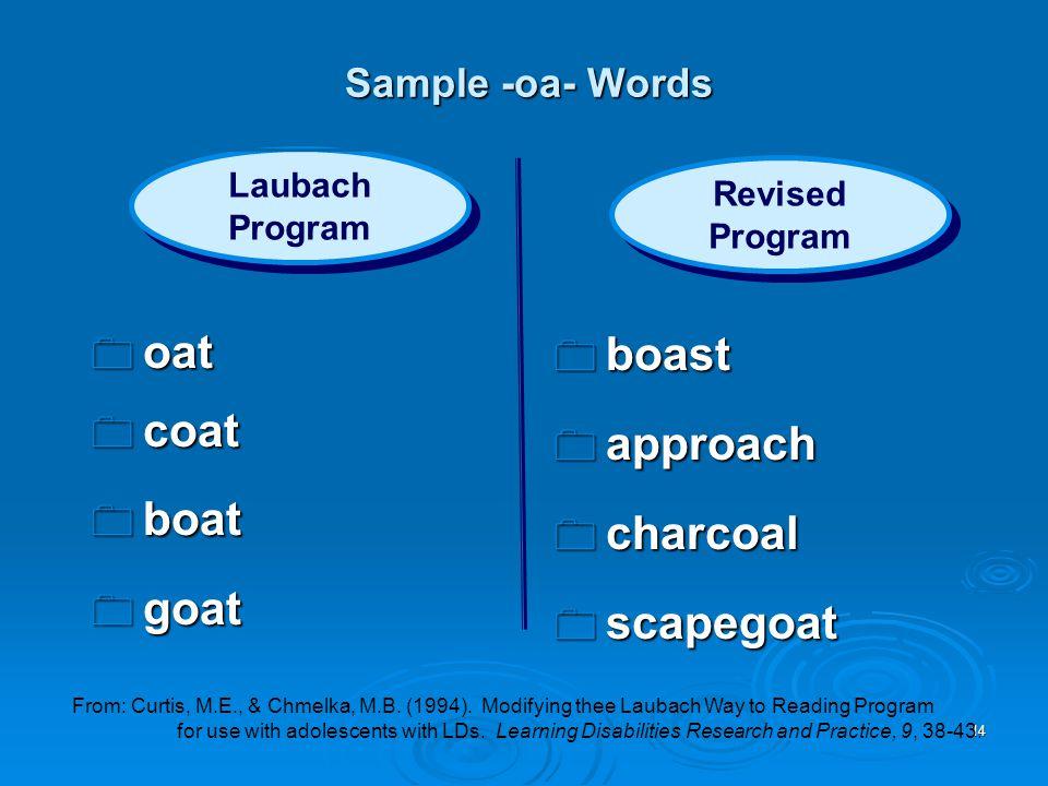 14  oat  coat  boat  goat  boast  approach  charcoal  scapegoat Laubach Program Laubach Program Revised Program Revised Program Sample -oa- Wo