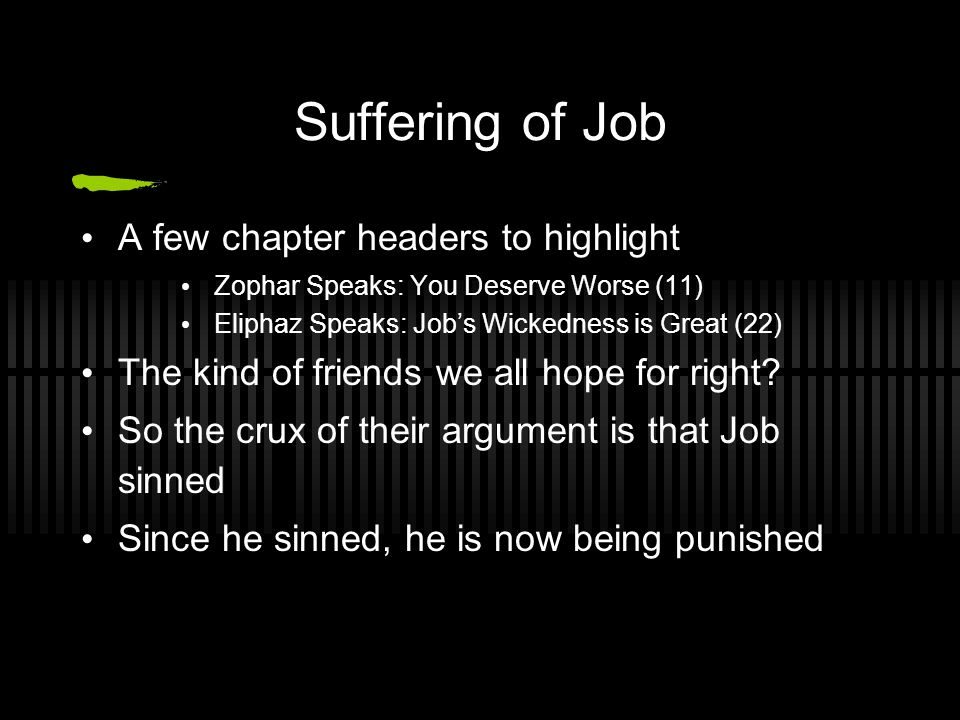 Suffering of Job A few chapter headers to highlight Zophar Speaks: You Deserve Worse (11) Eliphaz Speaks: Job's Wickedness is Great (22) The kind of friends we all hope for right.