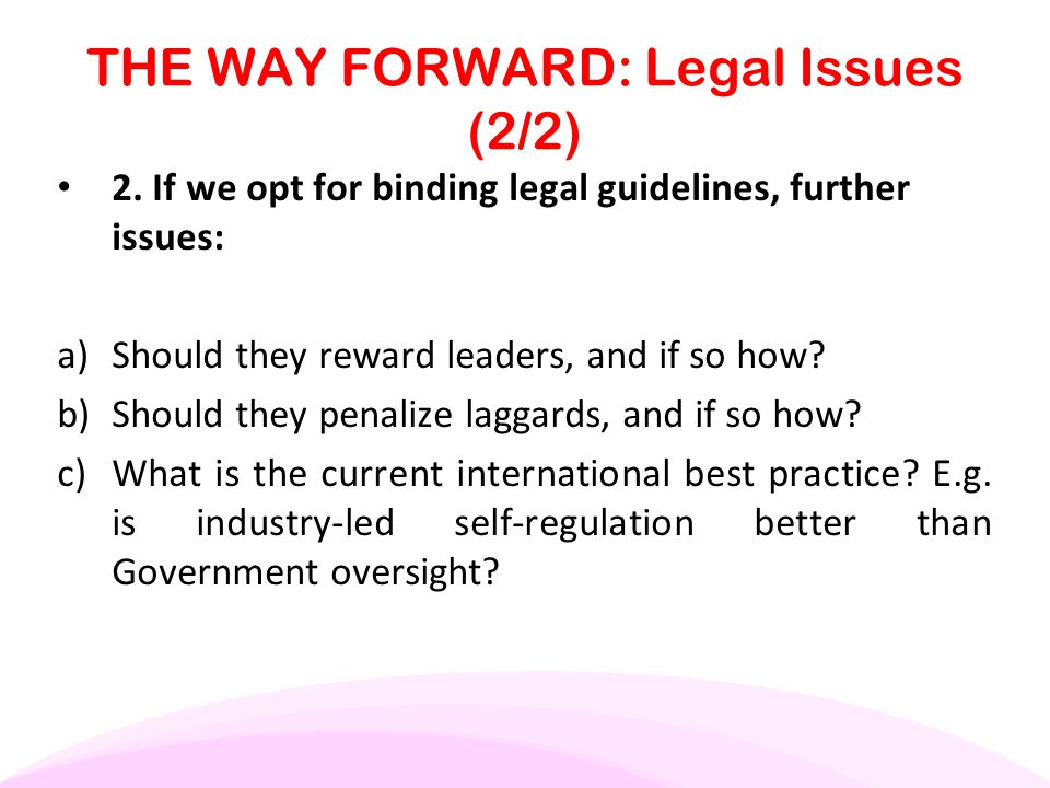 THE WAY FORWARD: Legal Issues (2/2) 2. If we opt for binding legal guidelines, further issues: a) Should they reward leaders, and if so how? b) Should