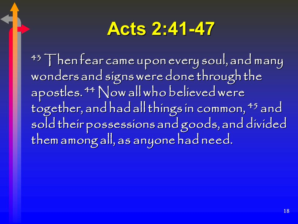 18 Acts 2:41-47 43 Then fear came upon every soul, and many wonders and signs were done through the apostles.