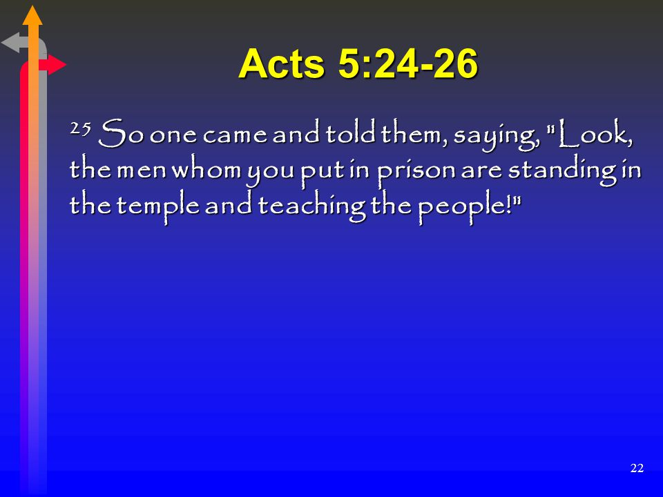 22 Acts 5:24-26 25 So one came and told them, saying, Look, the men whom you put in prison are standing in the temple and teaching the people!